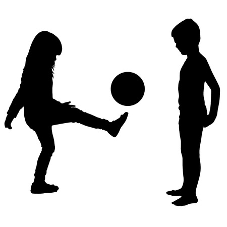 Vector silhouette of a children on a white background.