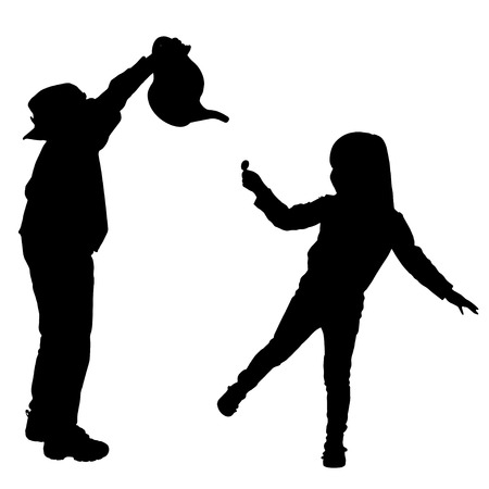 irritate: Vector silhouette of a children on a white background.