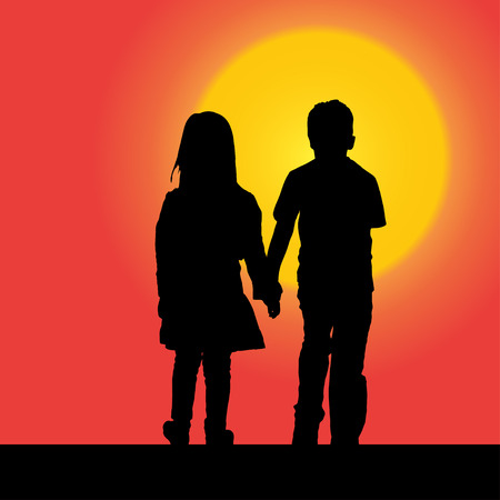 Vector silhouette of a children at sunset.
