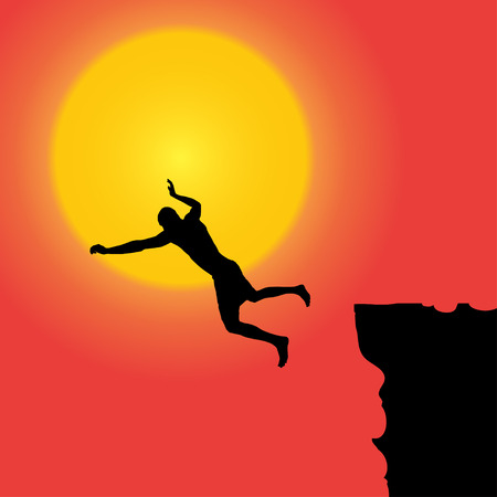 Vector silhouette of the man who jumps off a cliff. Vector