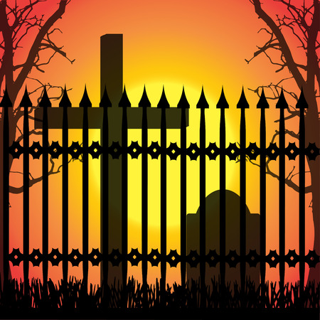 good evening: Vector silhouette of a cross in the cemetery at sunset. Illustration
