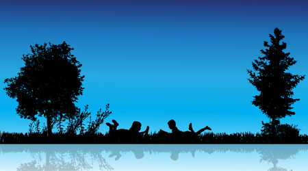 kids reading: Vector silhouette of children in the countryside near a pond.