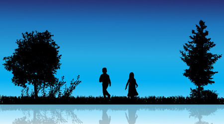Vector silhouette of children in the countryside near a pond. Vector