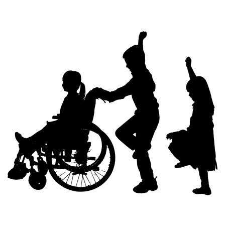 wheelchair man: Vector silhouette of children who play on a white background. Illustration