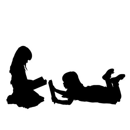 Vector silhouette of children who play on a white background. Illustration