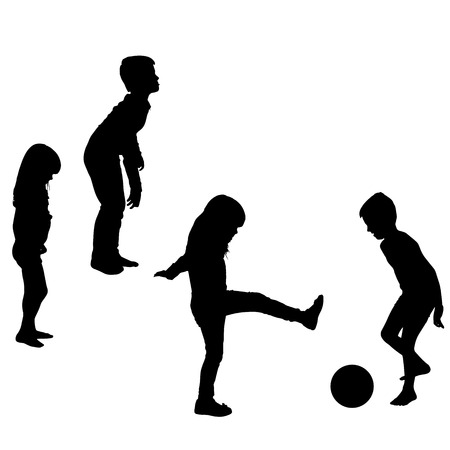 Vector silhouette of children who play on a white background. Vector