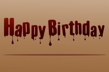 the inscription: Vector silhouette inscription happy birthday on a brown background.