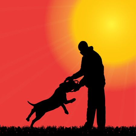 Vector silhouette of a man with a dog who practice defense. Vector