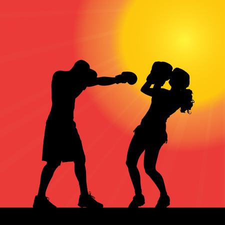 wrestle: Vector silhouette of a couple who works at sunset.