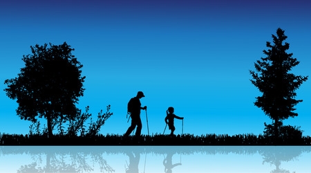 mere: Vector silhouette of family in the countryside near a pond. Illustration