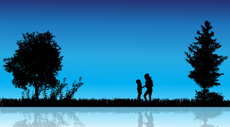 mere: Vector silhouette of children in the countryside near a pond.