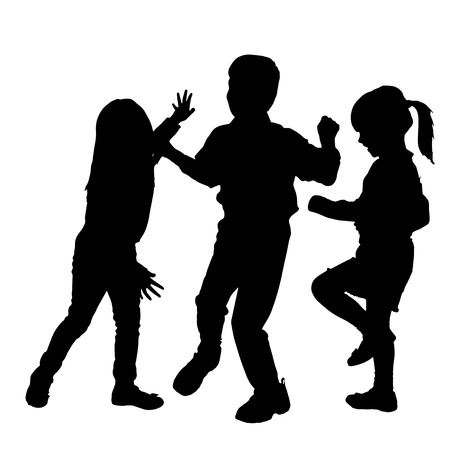 happy black family: Vector silhouette of children who play on a white background. Illustration