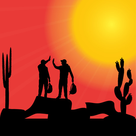 wasteland: Vector silhouette of a man in nature at sunset. Illustration