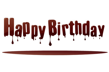 Vector silhouette inscription happy birthday on a white background. Vector
