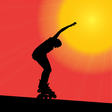 Vector silhouette of the woman that rides on roller skates. Vector