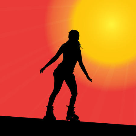 rollerblade: Vector silhouette of the woman that rides on roller skates. Illustration