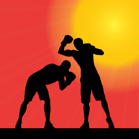 wrestle: Vector silhouette of a man who works at sunset.