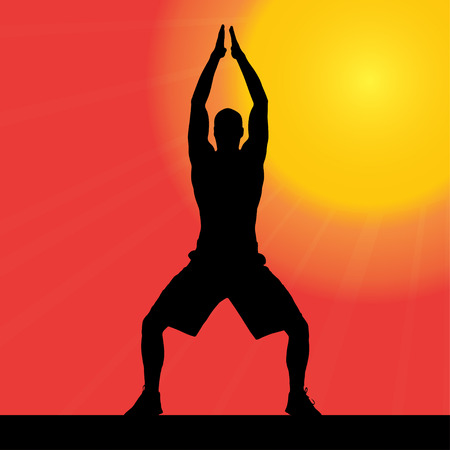 yoga outside: Vector silhouette of a man who works at sunset.