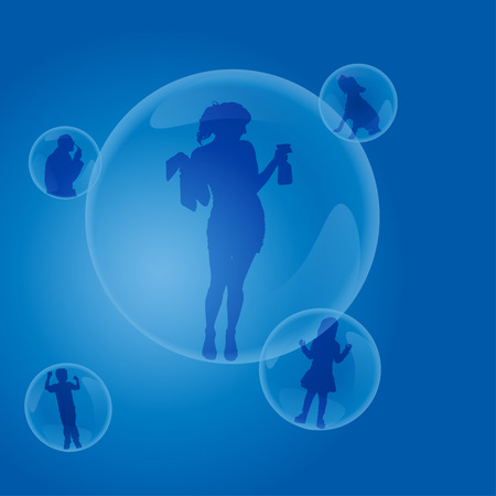 Vector silhouettes of people in a bubble. Vector