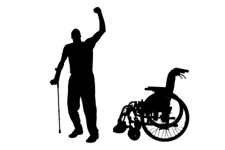 medicine wheel: Vector silhouette of disabled man on a white background.