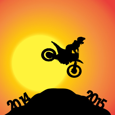 fmx: Vector silhouettes of biker at the turn of the year.
