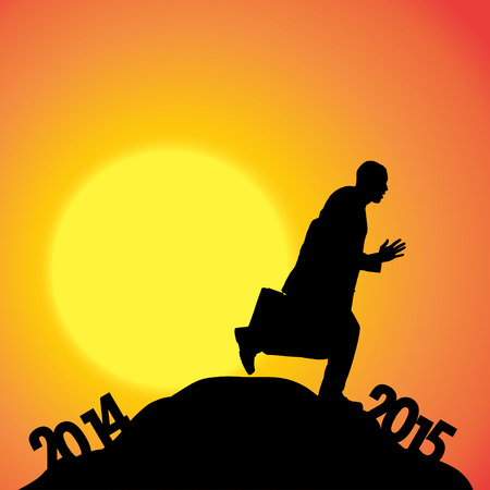 turn of the year: Vector silhouettes of businessman at the turn of the year. Illustration