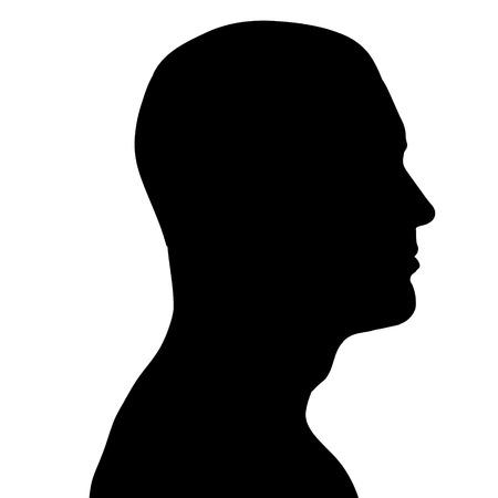 Vector silhouette di un uomo di profilo su sfondo bianco.