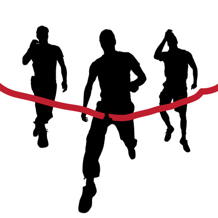 Vector silhouettes of runners in the race. Vector