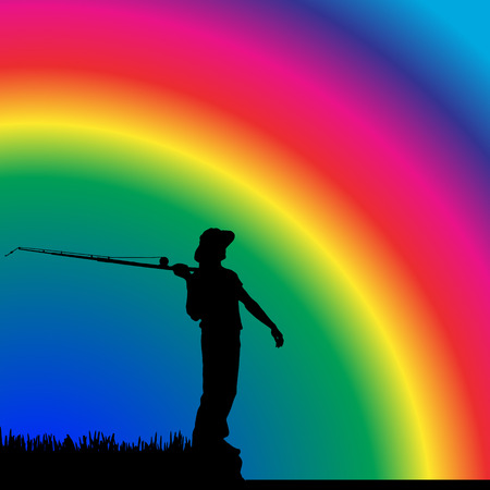 Vector silhouettes of fishermen at the pond for rainbows. Vector