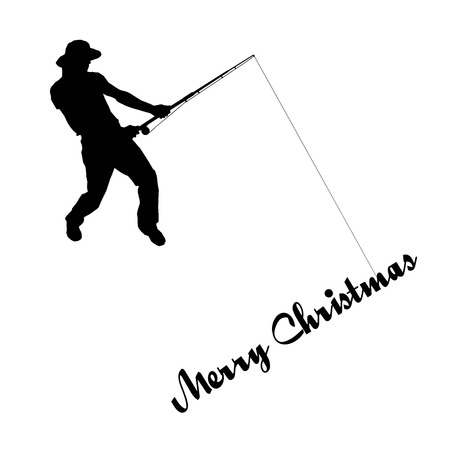 Vector silhouette of a fisherman who caught the inscription merry christmas Vector