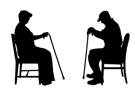 Vector silhouettes of people sitting on a chair. Vector