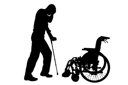 Vector silhouette of disabled man on a white background. Vector