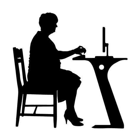 old: Vector silhouettes of woman in office on a white background.