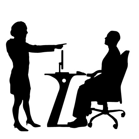 Vector silhouettes of people in office on a white background. Vector
