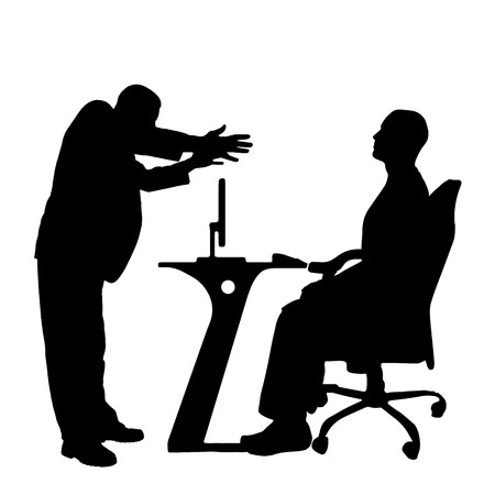hassle: Vector silhouettes of people in office on a white background.