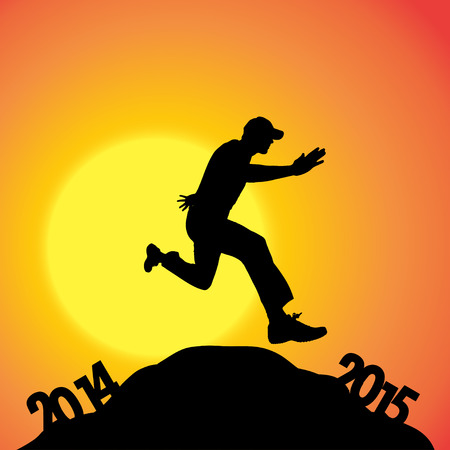 jogging in nature: Vector silhouettes of man at the turn of the year. Illustration