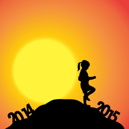 turn of the year: Vector silhouettes of girl at the turn of the year.