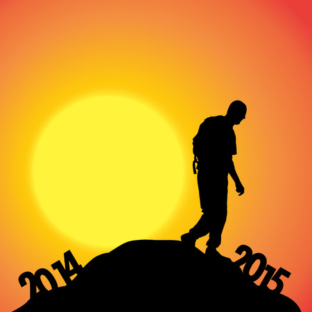 turn of the year: Vector silhouettes of man at the turn of the year. Illustration