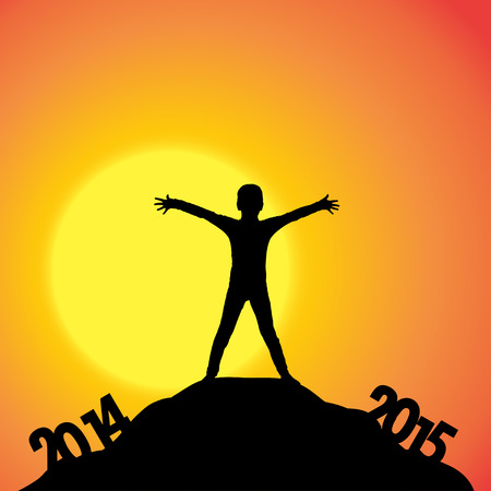 turn of the year: Vector silhouettes of boy at the turn of the year. Illustration