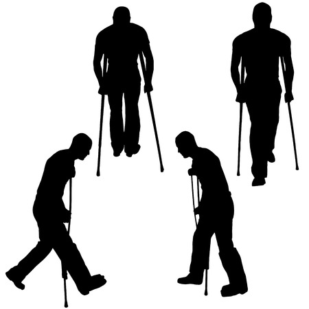 has: Vector silhouette of a man who has crutches. Illustration