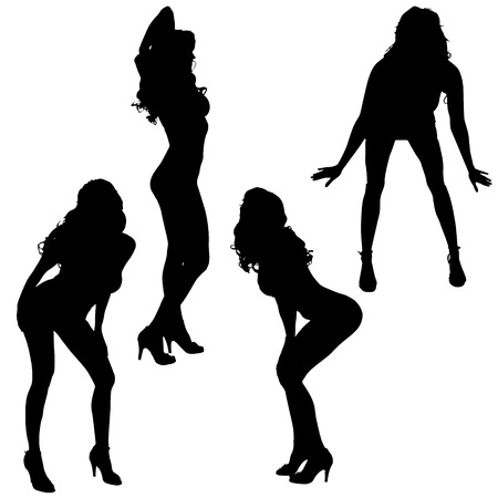 naked lady: Vector silhouettes of sexy women on white background. Illustration