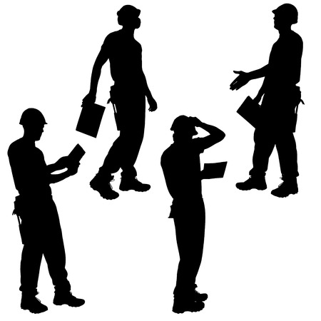 Vector silhouettes man worker on white background. Vector