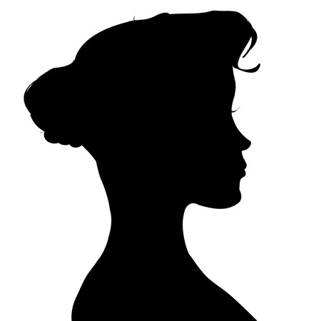 Vector silhouette of a woman in profile on a white background. Vector