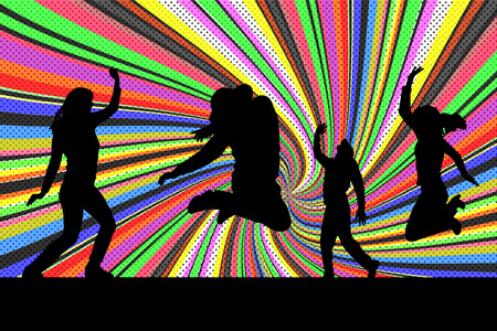 Vector silhouette of people who dancing on disco. Vector