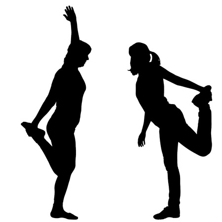 flexible woman: Vector silhouette of a couple who trains on a white background.