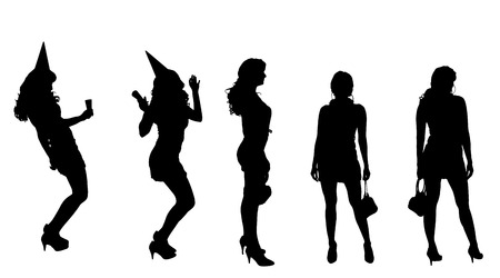 Vector silhouette of a woman who is at the party. Vector