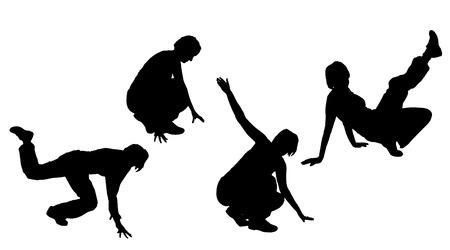 Vector silueta de una mujer que baila. Vectores