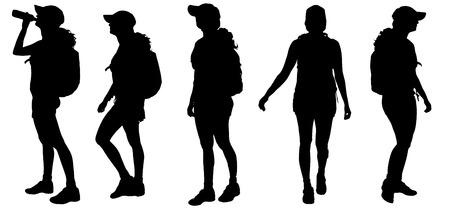 Vector silueta de la mujer con la mochila sobre fondo blanco