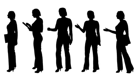 female silhouette: Vector silhouette of a businesswoman on a white background.
