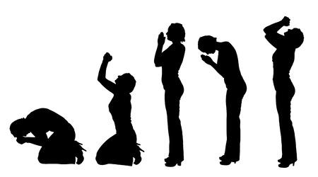 manos orando: Vector silueta de una mujer rezando sobre fondo blanco.